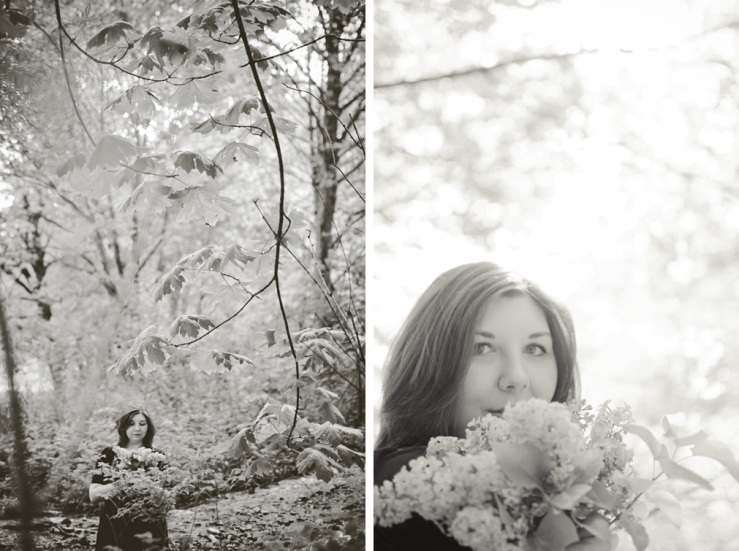 girl in forest with lilac bouquet diptych black and white